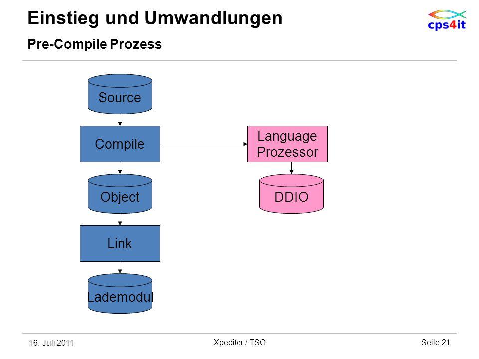 Einstieg und Umwandlungen Pre-Compile Prozess 16. Juli 2011Seite 21Xpediter / TSO Compile Source Link Object Lademodul Language Prozessor DDIO