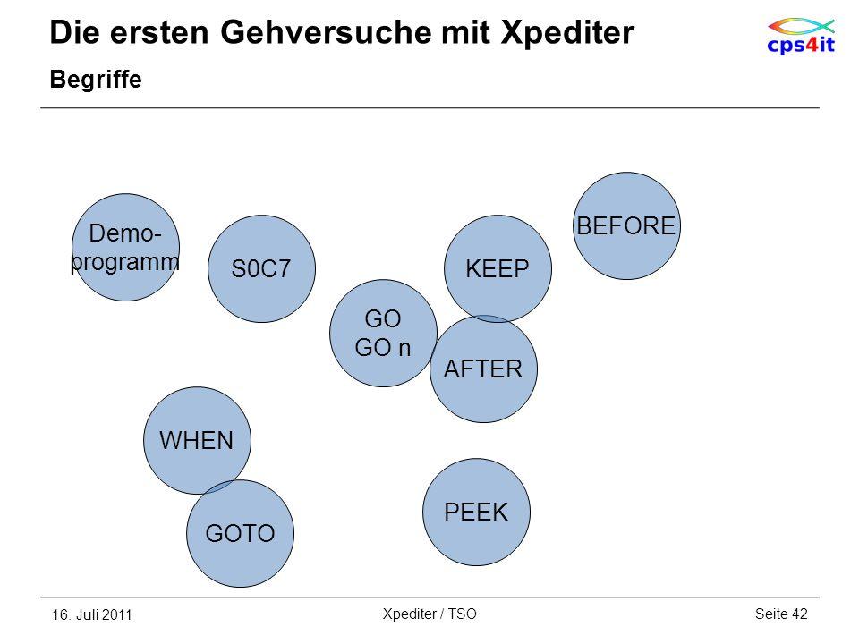 Die ersten Gehversuche mit Xpediter Begriffe 16. Juli 2011Seite 42Xpediter / TSO GO GO n AFTER KEEP BEFORE Demo- programm S0C7 WHEN PEEK GOTO