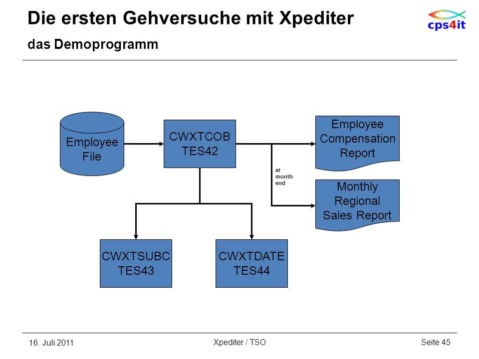 Die ersten Gehversuche mit Xpediter das Demoprogramm 16. Juli 2011Seite 45Xpediter / TSO CWXTCOB TES42 CWXTSUBC TES43 Employee File CWXTDATE TES44 Emp