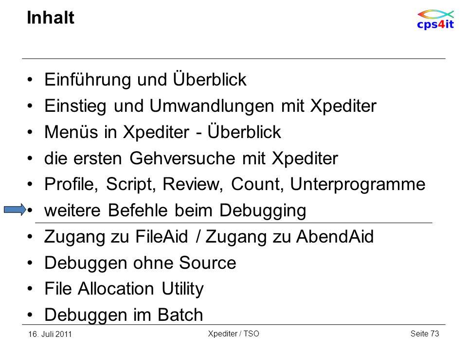 Inhalt Einführung und Überblick Einstieg und Umwandlungen mit Xpediter Menüs in Xpediter - Überblick die ersten Gehversuche mit Xpediter Profile, Scri