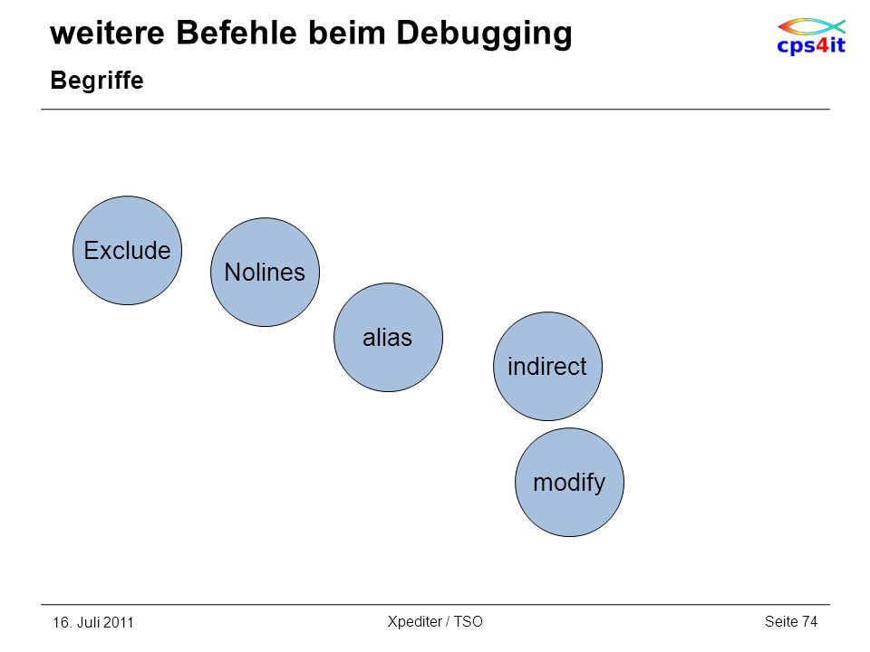 weitere Befehle beim Debugging Begriffe 16. Juli 2011Seite 74Xpediter / TSO alias Exclude Nolines indirect modify
