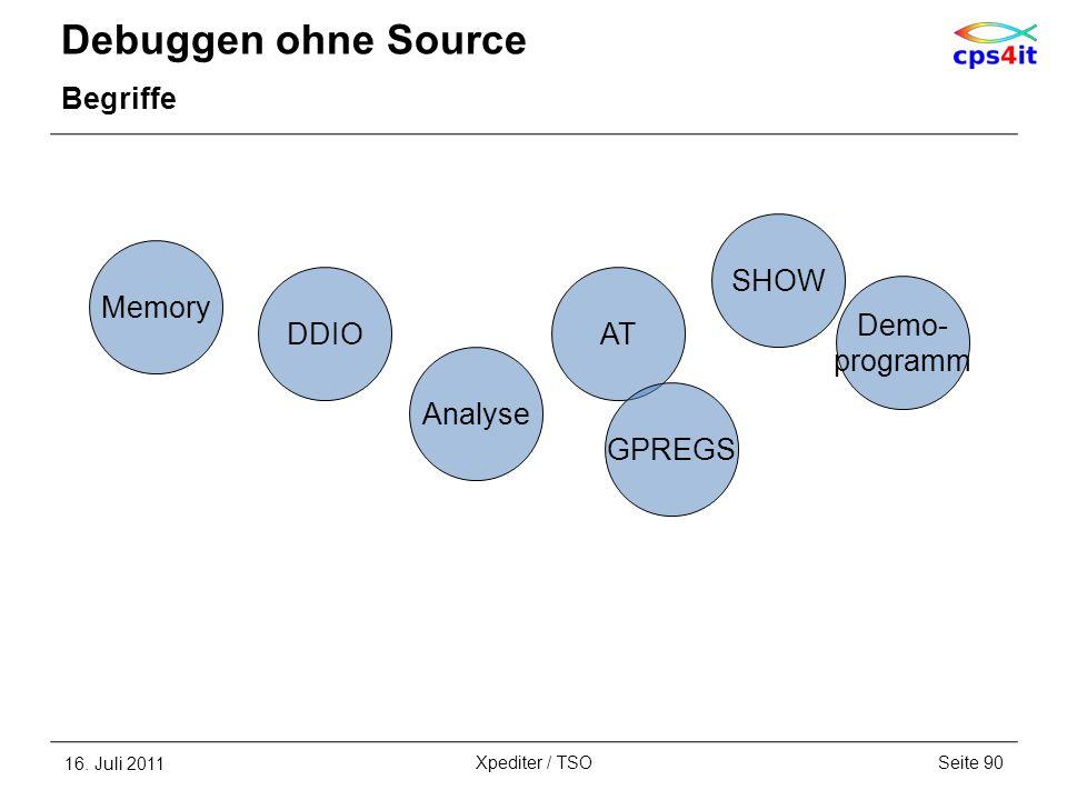 Debuggen ohne Source Begriffe 16. Juli 2011Seite 90Xpediter / TSO Analyse Demo- programm AT SHOW Memory DDIO GPREGS
