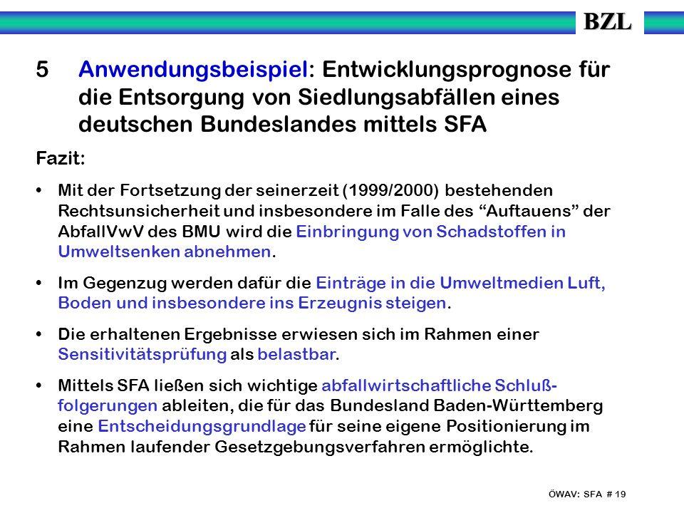 ÖWAV: SFA # 19 5 Anwendungsbeispiel: Entwicklungsprognose für die Entsorgung von Siedlungsabfällen eines deutschen Bundeslandes mittels SFA Fazit: Mit