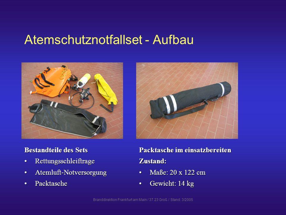 Branddirektion Frankfurt am Main / 37.23 Groß / Stand: 3/2005 Atemschutznotfallset - Aufbau Bestandteile des Sets RettungsschleiftrageRettungsschleift