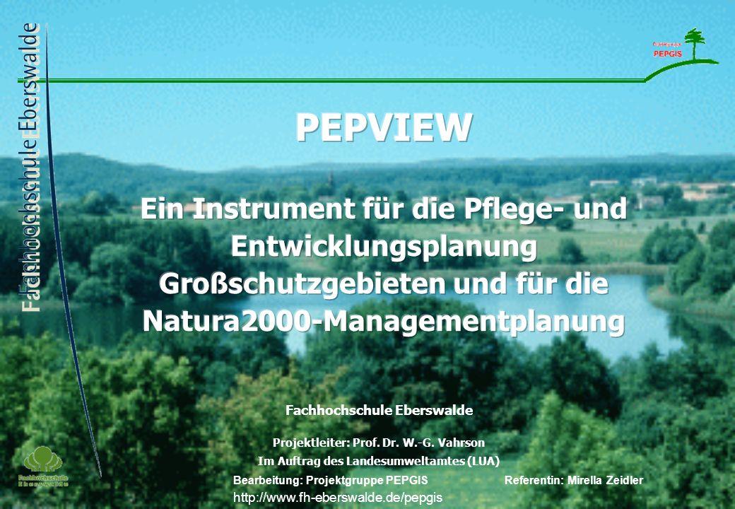 Deck- blatt Fachhochschule Eberswalde Projektleiter: Prof. Dr. W.-G. Vahrson Im Auftrag des Landesumweltamtes (LUA) Bearbeitung: Projektgruppe PEPGIS