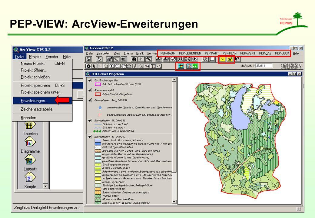PEP-VIEW: ArcView-Erweiterungen