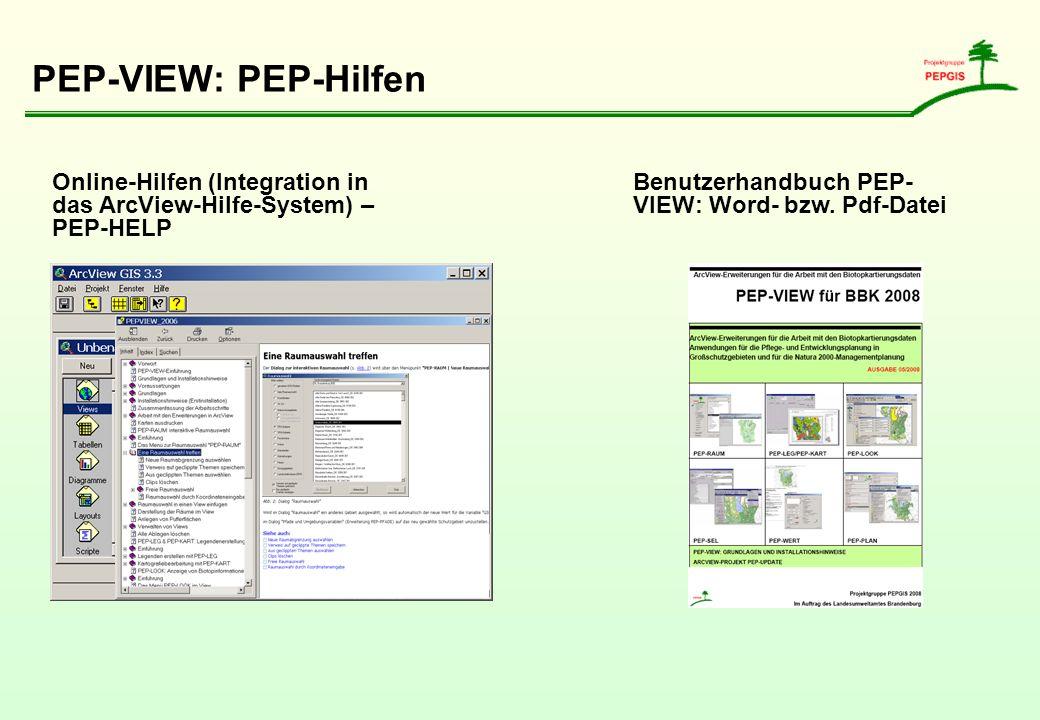 PEP-VIEW: PEP-Hilfen Online-Hilfen (Integration in das ArcView-Hilfe-System) – PEP-HELP Benutzerhandbuch PEP- VIEW: Word- bzw. Pdf-Datei