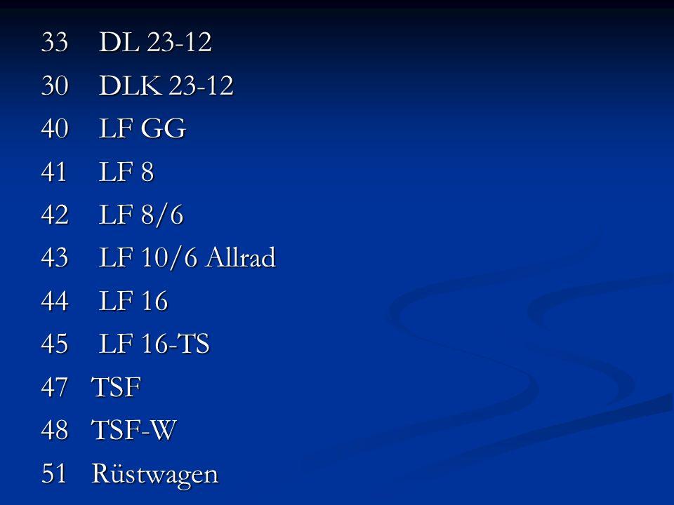 33 DL 23-12 30 DLK 23-12 40 LF GG 41 LF 8 42 LF 8/6 43 LF 10/6 Allrad 44 LF 16 45 LF 16-TS 47 TSF 48 TSF-W 51 Rüstwagen 54 GW-GG 56 GW-AS