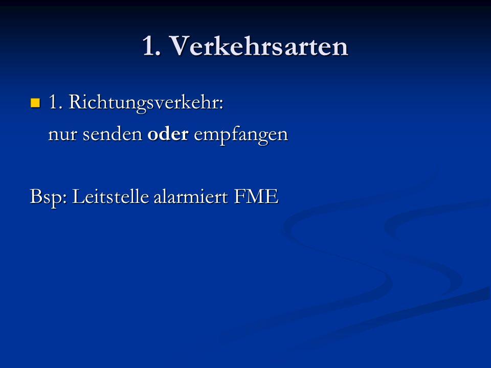 1. Verkehrsarten 1. Richtungsverkehr: 1. Richtungsverkehr: nur senden oder empfangen Bsp: Leitstelle alarmiert FME