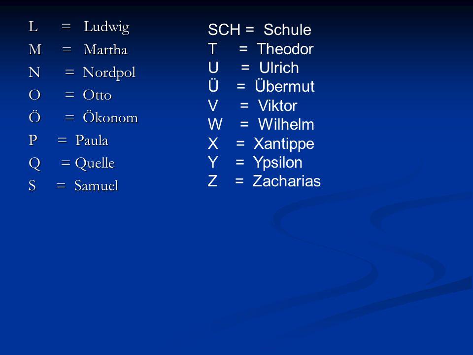 L = Ludwig M = Martha N = Nordpol O = Otto Ö = Ökonom P = Paula Q = Quelle S = Samuel SCH = Schule T = Theodor U = Ulrich Ü = Übermut V = Viktor W = W
