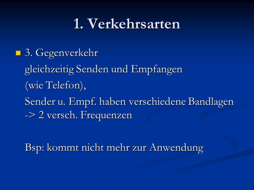 1. Verkehrsarten 3. Gegenverkehr 3. Gegenverkehr gleichzeitig Senden und Empfangen (wie Telefon), Sender u. Empf. haben verschiedene Bandlagen -> 2 ve