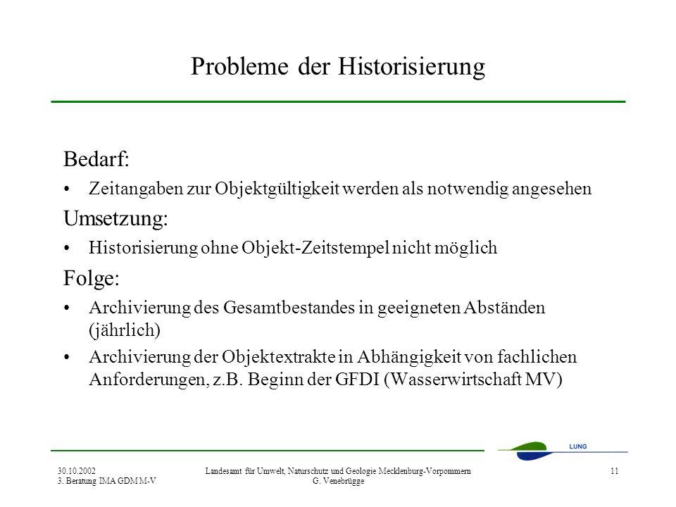 30.10.2002 3. Beratung IMA GDM M-V Landesamt für Umwelt, Naturschutz und Geologie Mecklenburg-Vorpommern G. Venebrügge 11 Probleme der Historisierung
