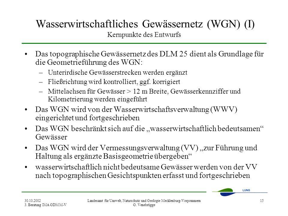 30.10.2002 3. Beratung IMA GDM M-V Landesamt für Umwelt, Naturschutz und Geologie Mecklenburg-Vorpommern G. Venebrügge 15 Wasserwirtschaftliches Gewäs