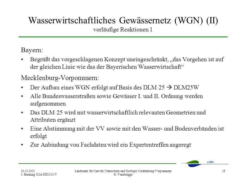 30.10.2002 3. Beratung IMA GDM M-V Landesamt für Umwelt, Naturschutz und Geologie Mecklenburg-Vorpommern G. Venebrügge 16 Wasserwirtschaftliches Gewäs