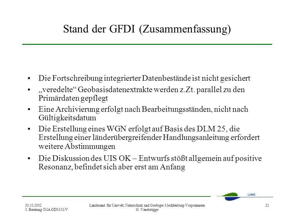 30.10.2002 3. Beratung IMA GDM M-V Landesamt für Umwelt, Naturschutz und Geologie Mecklenburg-Vorpommern G. Venebrügge 21 Stand der GFDI (Zusammenfass