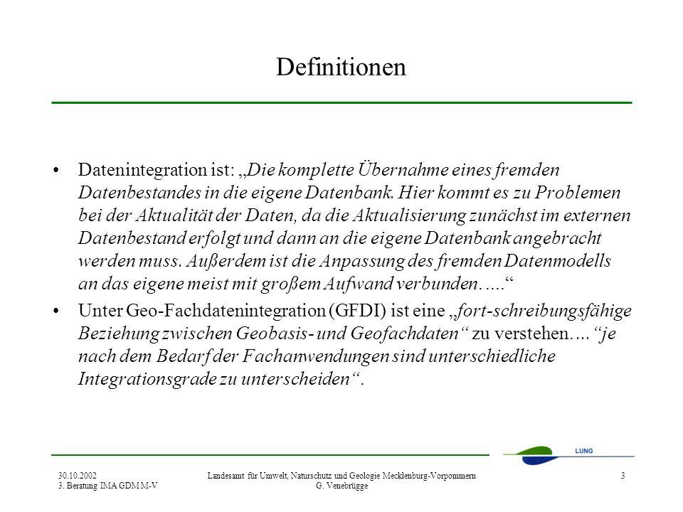 30.10.2002 3. Beratung IMA GDM M-V Landesamt für Umwelt, Naturschutz und Geologie Mecklenburg-Vorpommern G. Venebrügge 3 Definitionen Datenintegration