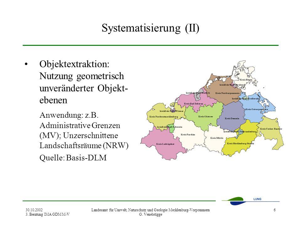30.10.2002 3. Beratung IMA GDM M-V Landesamt für Umwelt, Naturschutz und Geologie Mecklenburg-Vorpommern G. Venebrügge 6 Systematisierung (II) Objekte