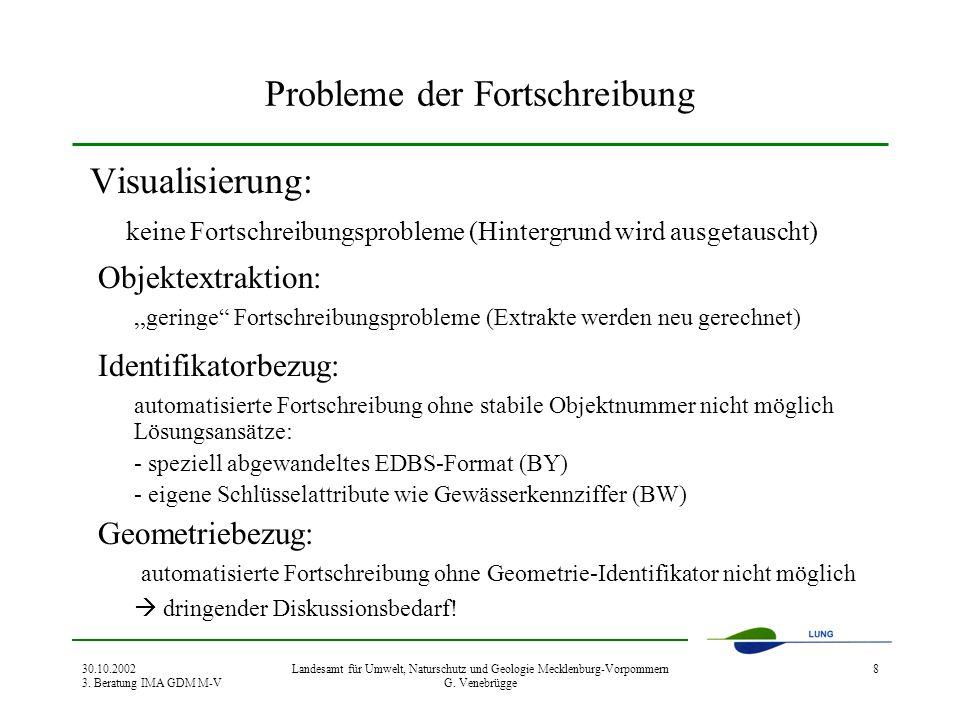 30.10.2002 3. Beratung IMA GDM M-V Landesamt für Umwelt, Naturschutz und Geologie Mecklenburg-Vorpommern G. Venebrügge 8 Probleme der Fortschreibung V
