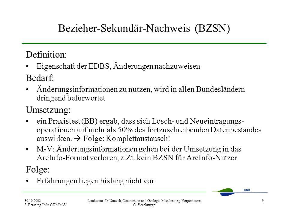 30.10.2002 3. Beratung IMA GDM M-V Landesamt für Umwelt, Naturschutz und Geologie Mecklenburg-Vorpommern G. Venebrügge 9 Bezieher-Sekundär-Nachweis (B
