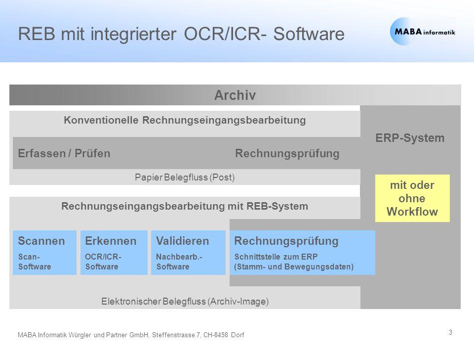 3 MABA Informatik Würgler und Partner GmbH, Steffenstrasse 7, CH-8458 Dorf ERP-System Rechnungseingangsbearbeitung mit REB-System Elektronischer Beleg