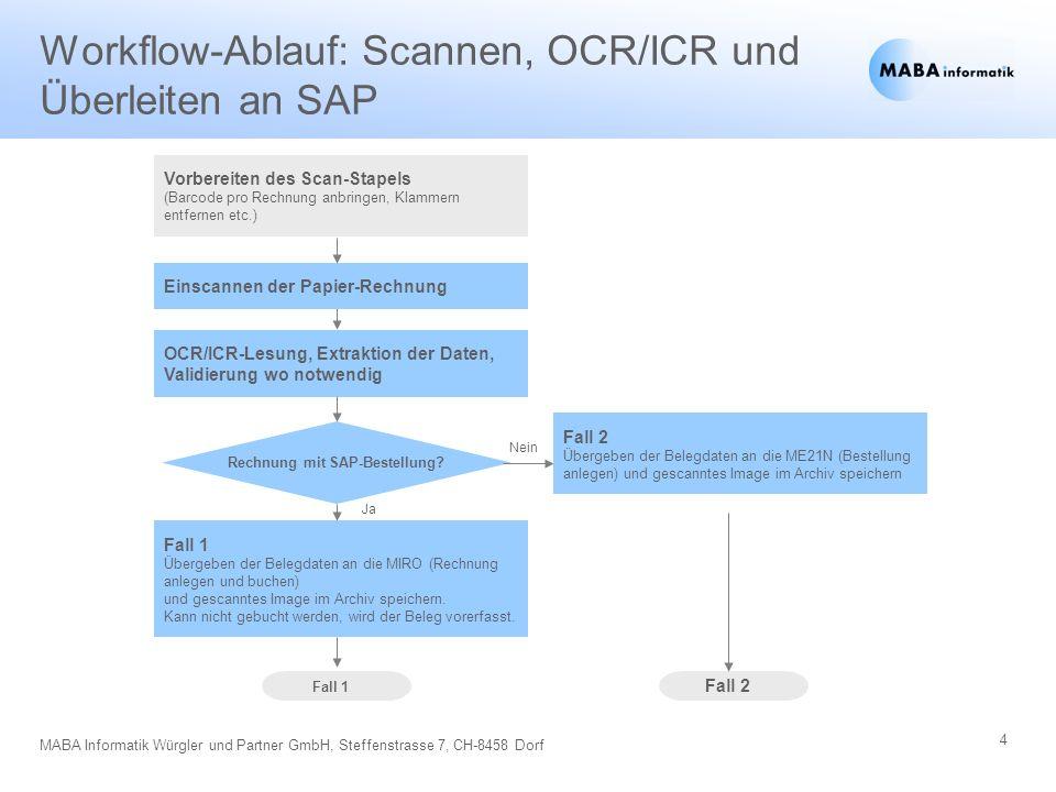 4 MABA Informatik Würgler und Partner GmbH, Steffenstrasse 7, CH-8458 Dorf Workflow-Ablauf: Scannen, OCR/ICR und Überleiten an SAP Vorbereiten des Sca