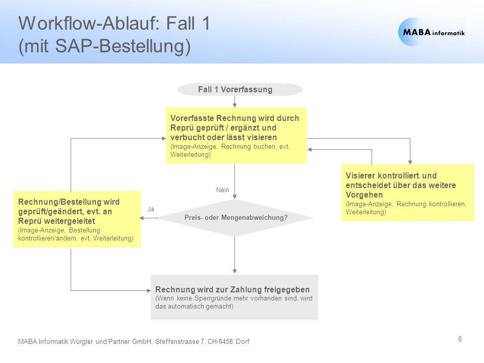 6 MABA Informatik Würgler und Partner GmbH, Steffenstrasse 7, CH-8458 Dorf Workflow-Ablauf: Fall 1 (mit SAP-Bestellung) Fall 1 Vorerfassung Vorerfasst