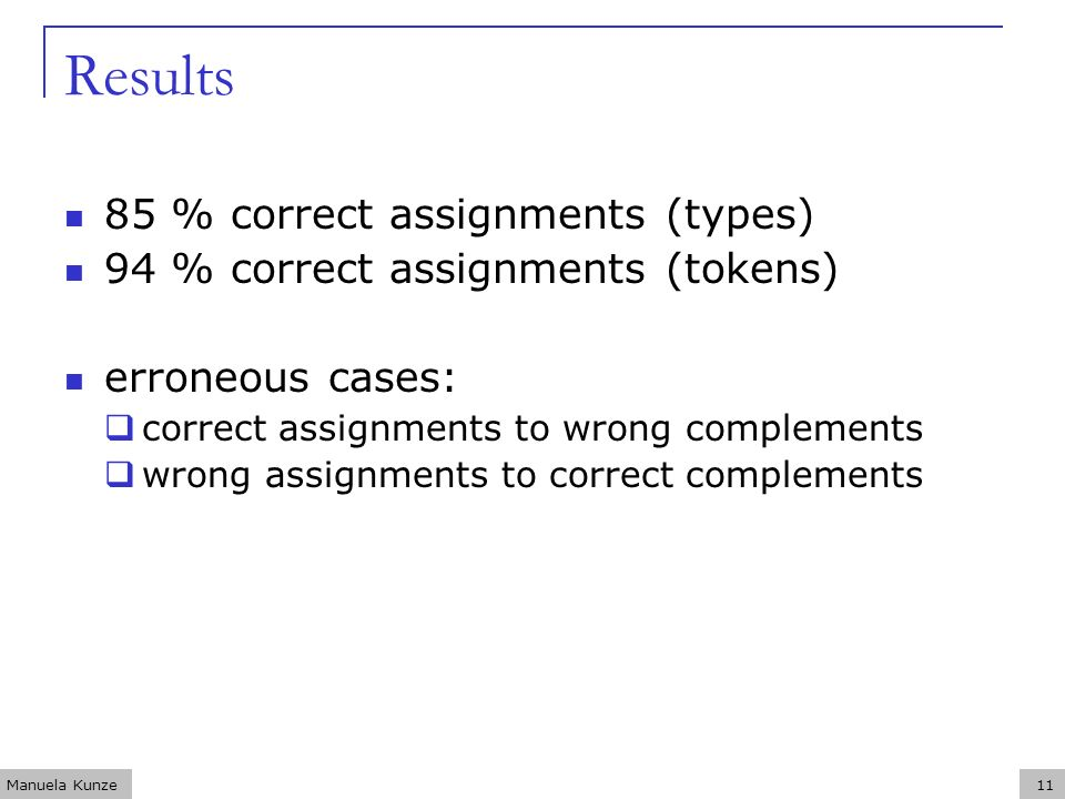 Manuela Kunze11 Results 85 % correct assignments (types) 94 % correct assignments (tokens) erroneous cases: correct assignments to wrong complements wrong assignments to correct complements