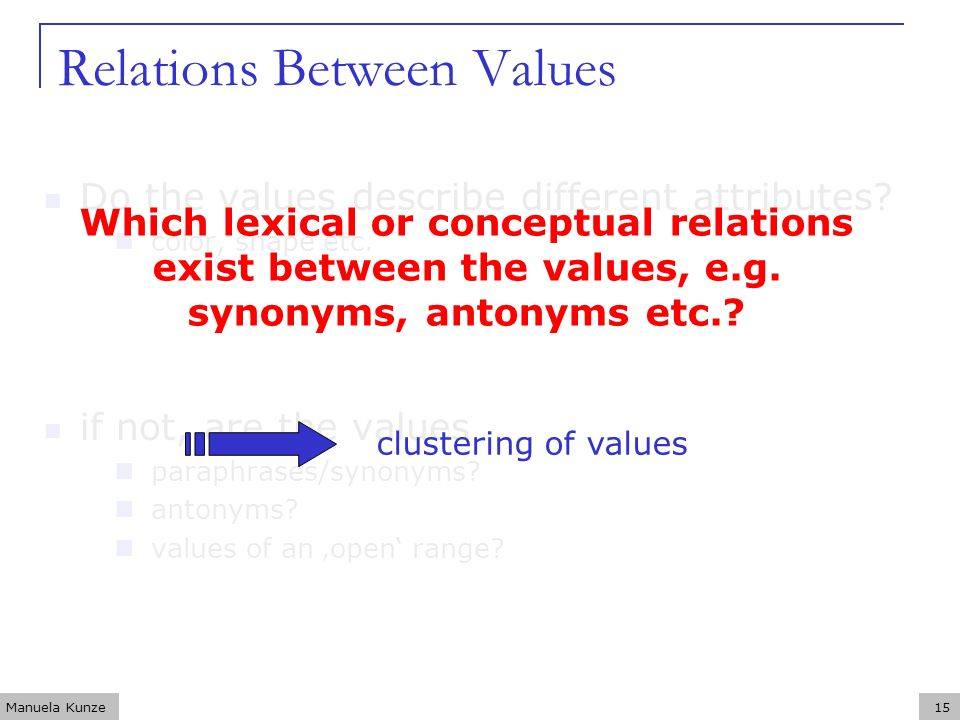 Manuela Kunze15 Relations Between Values Do the values describe different attributes? color, shape etc. if not, are the values paraphrases/synonyms? a
