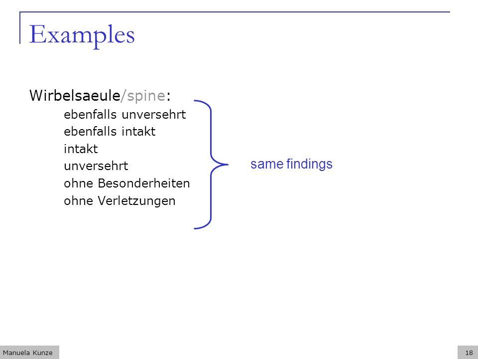 Manuela Kunze18 Examples Wirbelsaeule/spine: ebenfalls unversehrt ebenfalls intakt intakt unversehrt ohne Besonderheiten ohne Verletzungen same findings