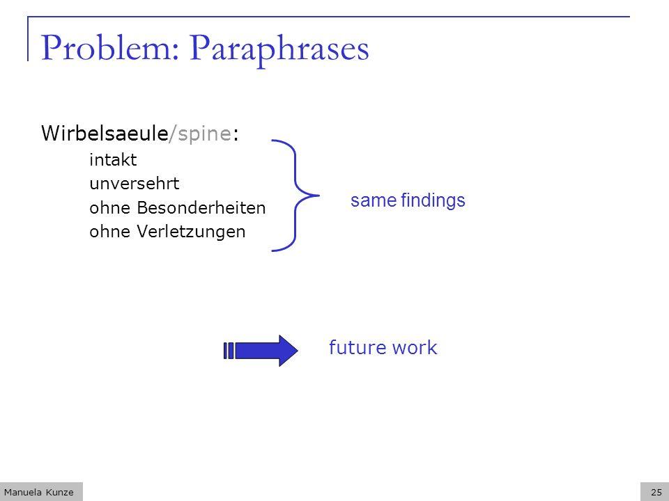 Manuela Kunze25 Problem: Paraphrases Wirbelsaeule/spine: intakt unversehrt ohne Besonderheiten ohne Verletzungen same findings future work