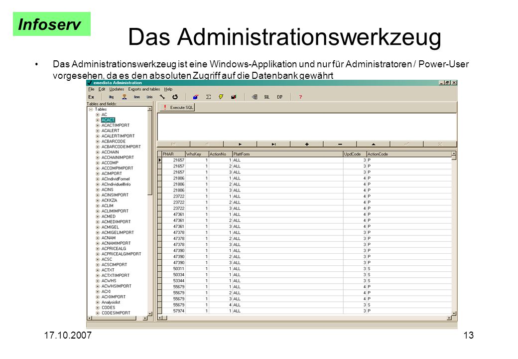Infoserv 17.10.200713 Das Administrationswerkzeug Das Administrationswerkzeug ist eine Windows-Applikation und nur für Administratoren / Power-User vo