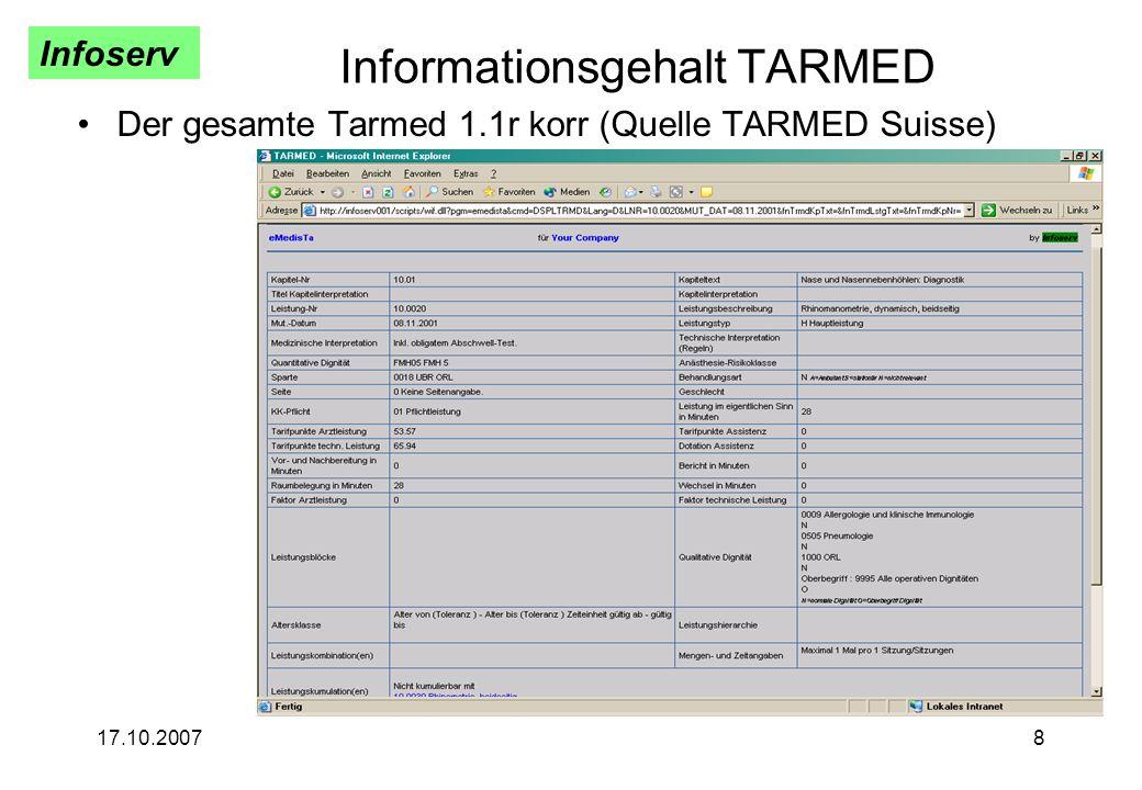 Infoserv 17.10.20078 Informationsgehalt TARMED Der gesamte Tarmed 1.1r korr (Quelle TARMED Suisse)