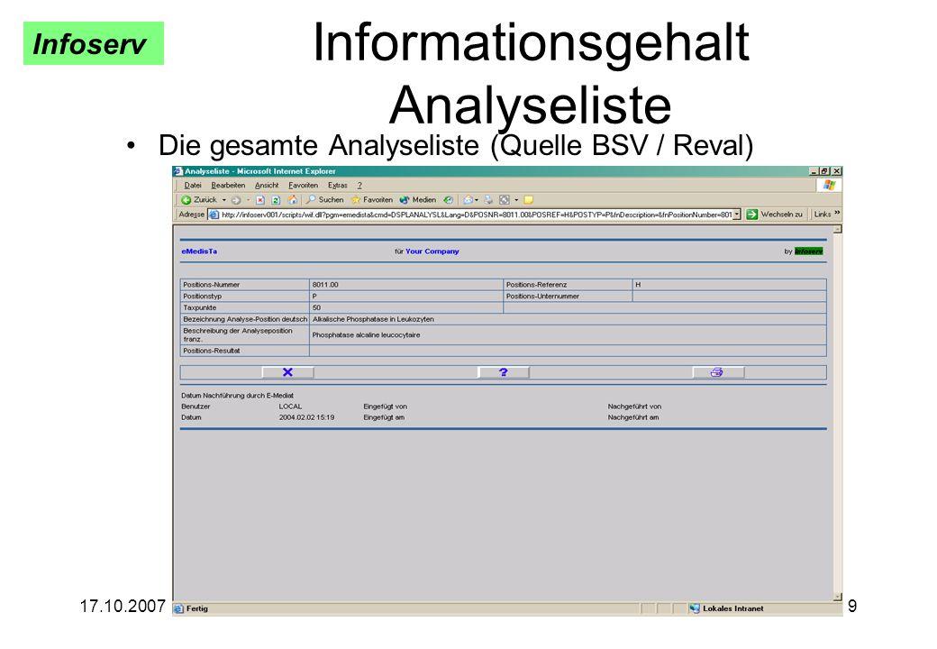Infoserv 17.10.20079 Informationsgehalt Analyseliste Die gesamte Analyseliste (Quelle BSV / Reval)