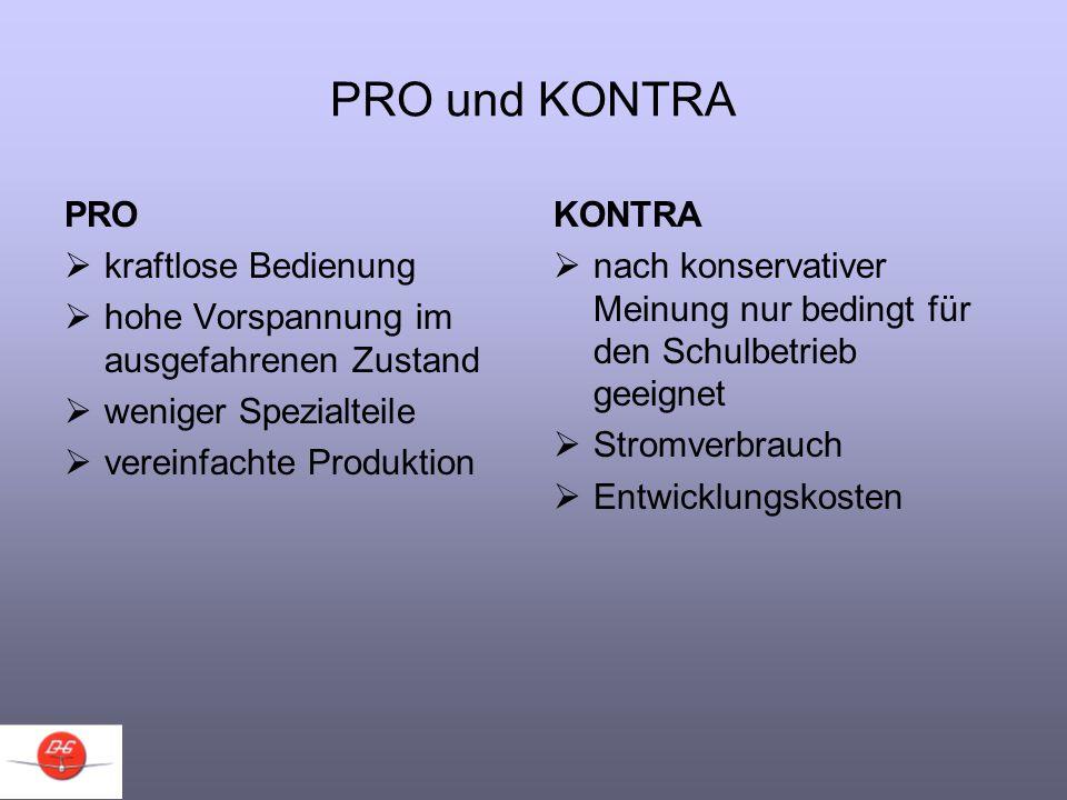 PRO und KONTRA PRO kraftlose Bedienung hohe Vorspannung im ausgefahrenen Zustand weniger Spezialteile vereinfachte Produktion KONTRA nach konservative