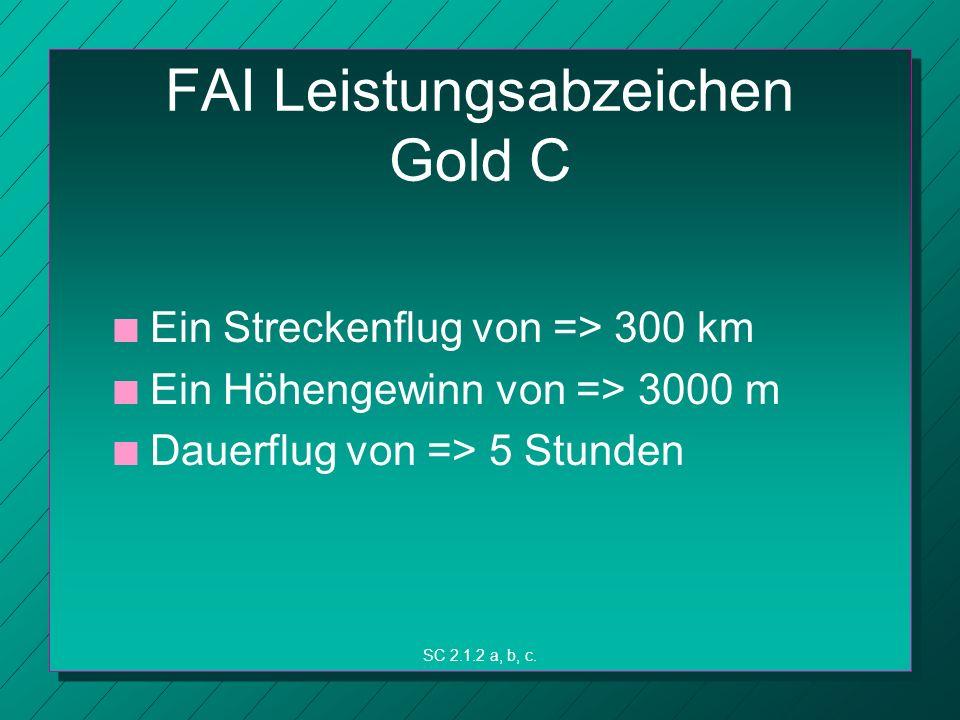 FAI Leistungsabzeichen Gold C n n Ein Streckenflug von => 300 km n n Ein Höhengewinn von => 3000 m n n Dauerflug von => 5 Stunden SC 2.1.2 a, b, c.