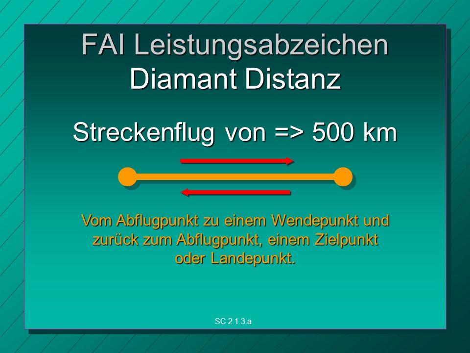 FAI Leistungsabzeichen Diamant Distanz Vom Abflugpunkt zu einem Wendepunkt und zurück zum Abflugpunkt, einem Zielpunkt oder Landepunkt.