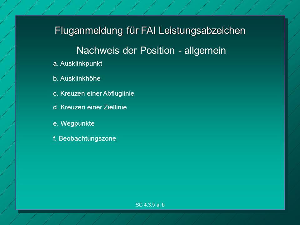 Fluganmeldung für FAI Leistungsabzeichen a.