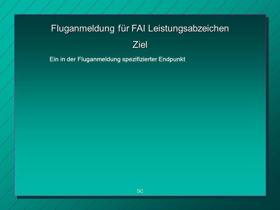 Fluganmeldung für FAI Leistungsabzeichen SC Ziel Ein in der Fluganmeldung spezifizierter Endpunkt