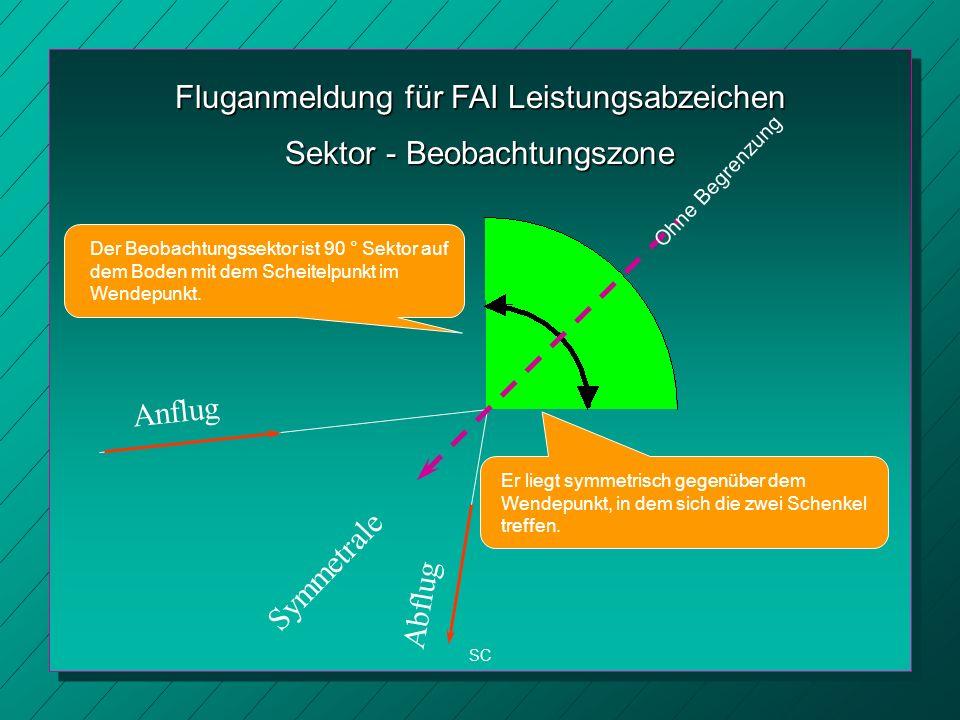 Fluganmeldung für FAI Leistungsabzeichen SC Sektor - Beobachtungszone Der Beobachtungssektor ist 90 ° Sektor auf dem Boden mit dem Scheitelpunkt im Wendepunkt.