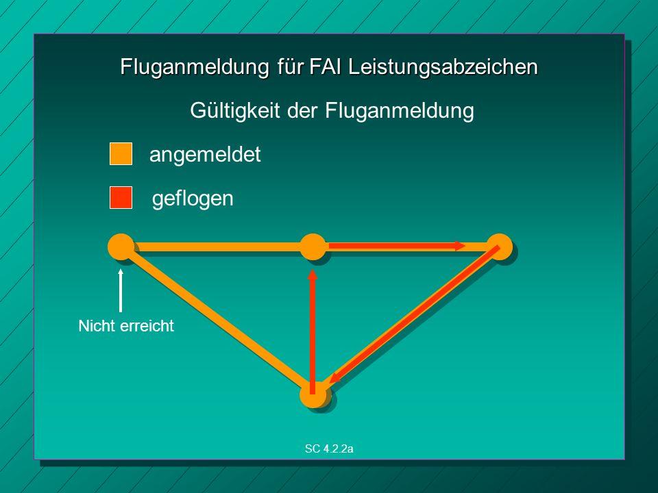 Fluganmeldung für FAI Leistungsabzeichen SC 4.2.2a Gültigkeit der Fluganmeldung angemeldet geflogen Nicht erreicht