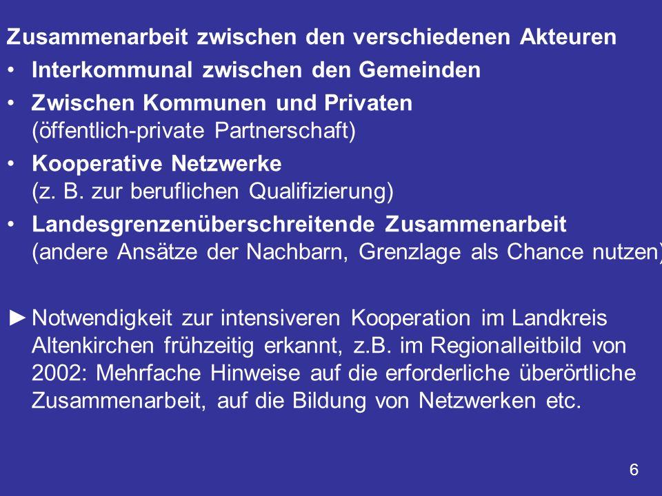 Zusammenarbeit zwischen den verschiedenen Akteuren Interkommunal zwischen den Gemeinden Zwischen Kommunen und Privaten (öffentlich-private Partnerscha