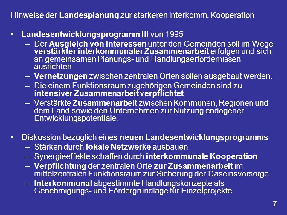 Hinweise der Landesplanung zur stärkeren interkomm. Kooperation Landesentwicklungsprogramm III von 1995 –Der Ausgleich von Interessen unter den Gemein