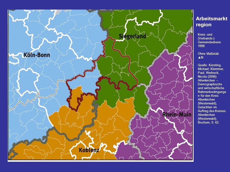 Kreis- und (Verbands-) Gemeindeebene 1998 Ohne Maßstab N Quelle: Kersting, Michael; Klemmer, Paul; Werbeck, Nicola (2006): Altenkirchen – Demographisc