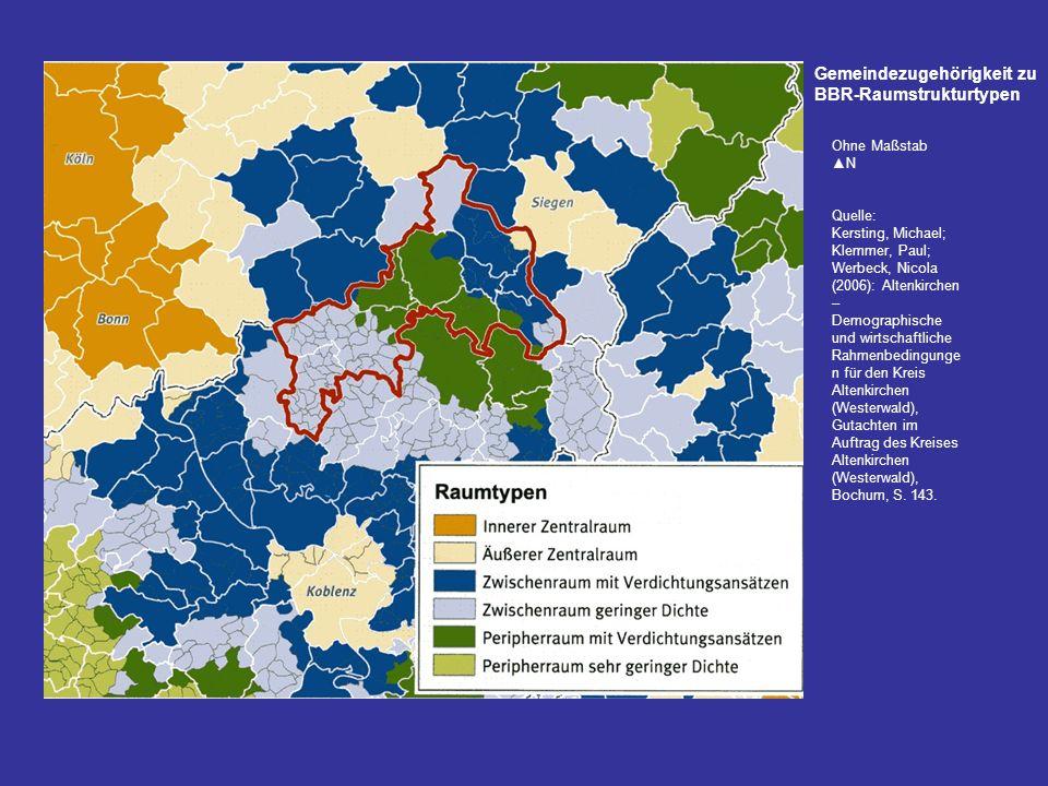 Gemeindezugehörigkeit zu BBR-Raumstrukturtypen Ohne Maßstab N Quelle: Kersting, Michael; Klemmer, Paul; Werbeck, Nicola (2006): Altenkirchen – Demogra