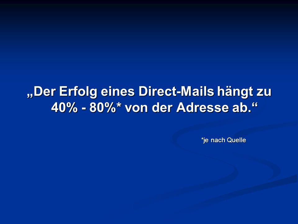 Der Erfolg eines Direct-Mails hängt zu 40% - 80%* von der Adresse ab. *je nach Quelle