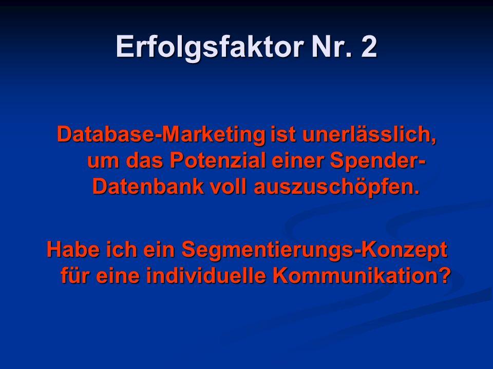 Erfolgsfaktor Nr. 2 Database-Marketing ist unerlässlich, um das Potenzial einer Spender- Datenbank voll auszuschöpfen. Habe ich ein Segmentierungs-Kon