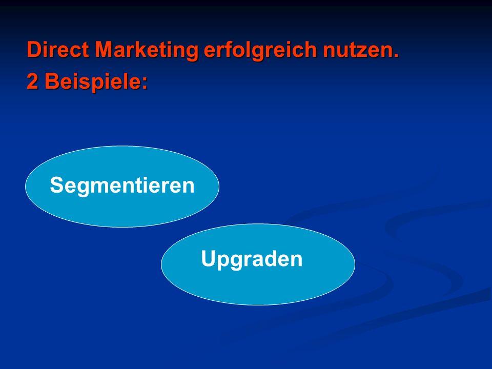 Direct Marketing erfolgreich nutzen. 2 Beispiele: Segmentieren Upgraden