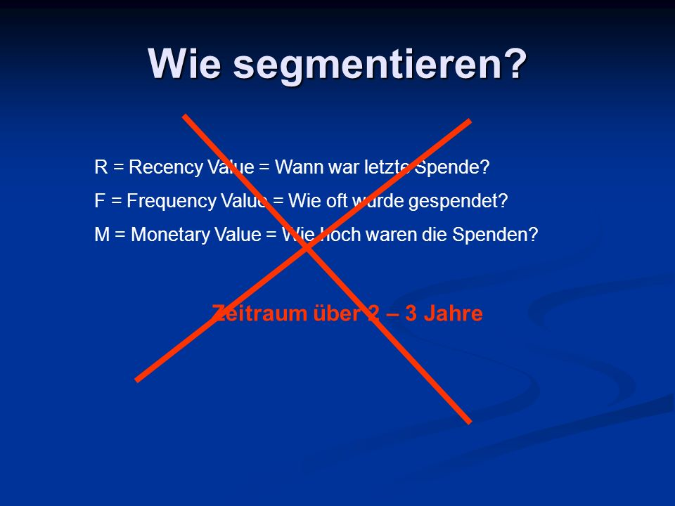 Wie segmentieren? R = Recency Value = Wann war letzte Spende? F = Frequency Value = Wie oft wurde gespendet? M = Monetary Value = Wie hoch waren die S