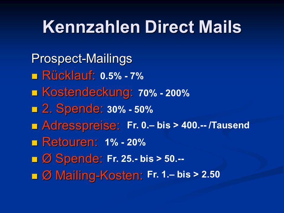 Kennzahlen Direct Mails Prospect-Mailings Rücklauf: Rücklauf: Kostendeckung: Kostendeckung: 2. Spende: 2. Spende: Adresspreise: Adresspreise: Retouren
