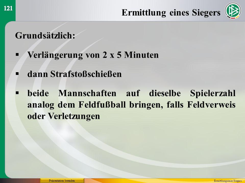 Präsentation beenden Grundsätzlich: Verlängerung von 2 x 5 Minuten Ermittlung eines Siegers dann Strafstoßschießen beide Mannschaften auf dieselbe Spi